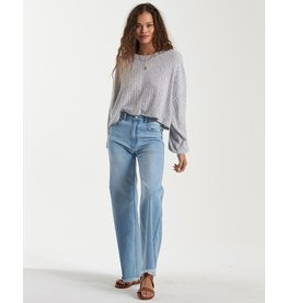Miles Away, Soft Cozy Brushed Rib Knit Top With Balloon Sleeve