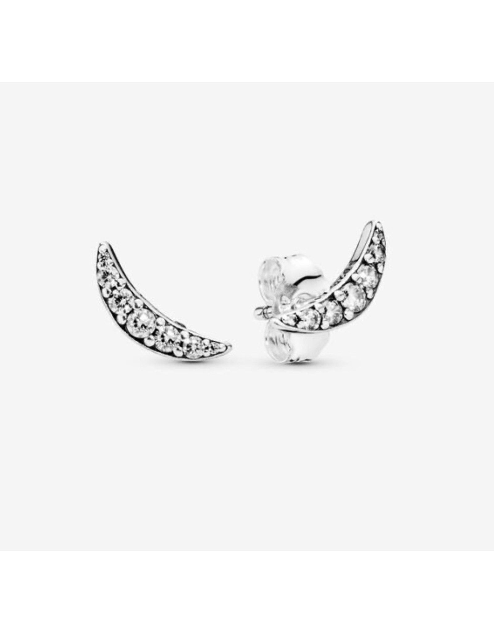 Pandora Pandora Earrings, 297569CZ,Sparkling Crescent Moon Stud, Sterling Silver Clear CZ