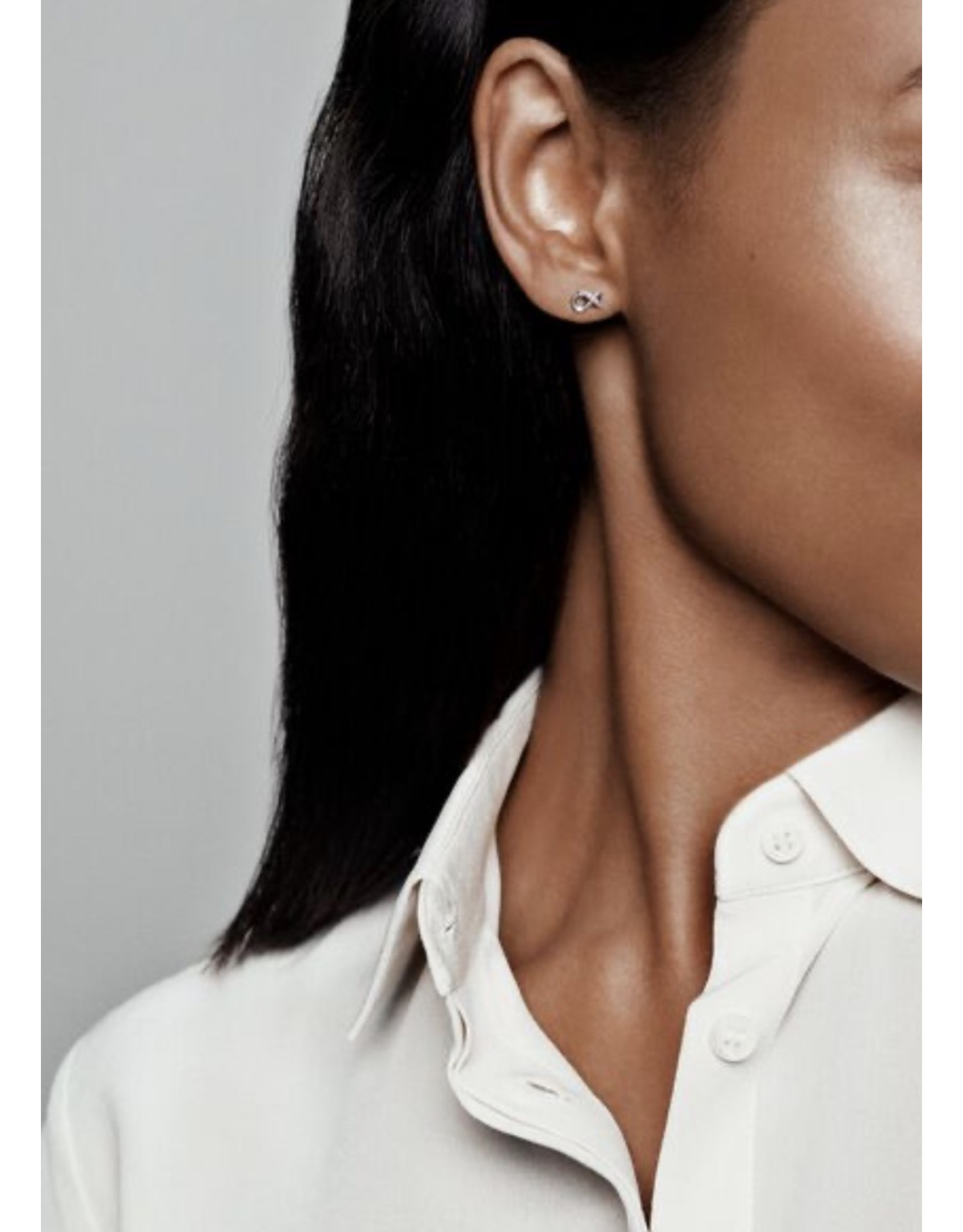 Pandora Pandora Earrings,298820C01, Sparkling Infinity Stud, Sterling Silver, CLear CZ