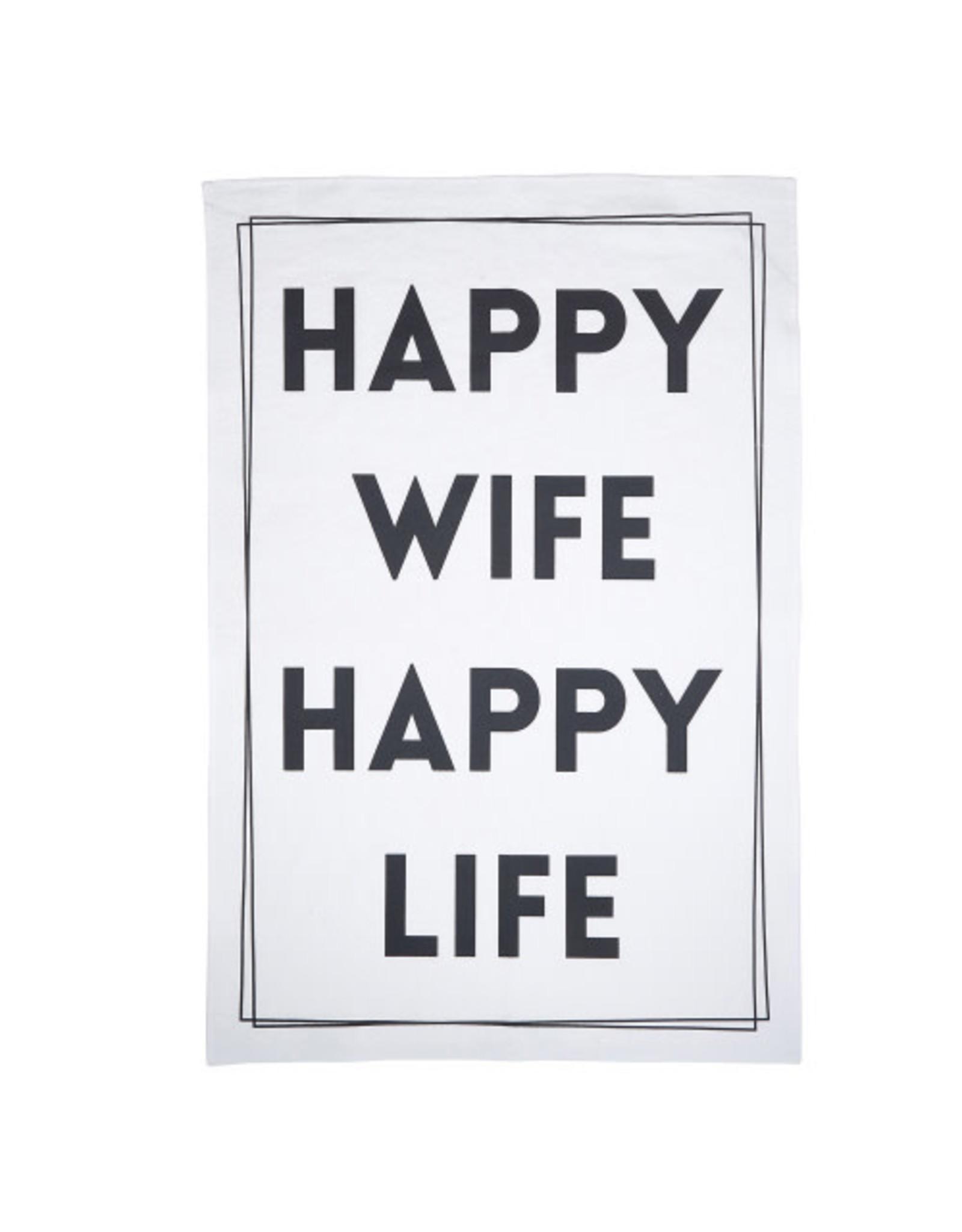 Creative Brands Tea Towel, Happy Wife Happy Life