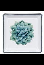 Enamel Succulent Trinket Dish, Blue Atoll