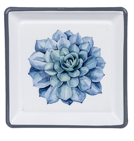 Enamel Succulent Trinket Dish, Blue Bird