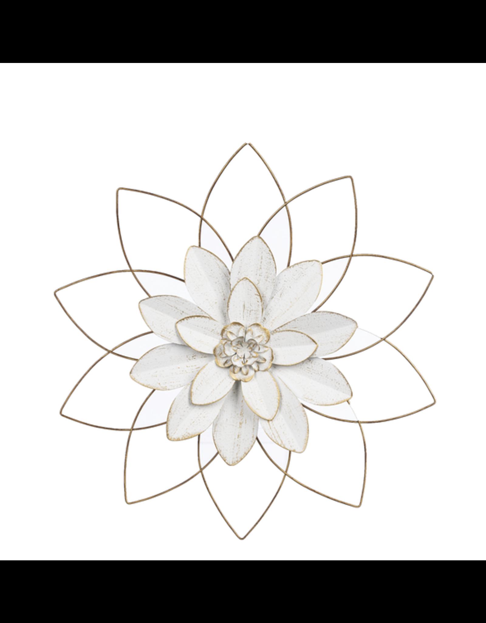 Medium White&Gold Open Work Layered Flower