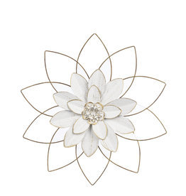 CBK Medium White&Golg Open Work Layered Flower