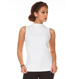 Sleeveless Pleated Mock Neck Top