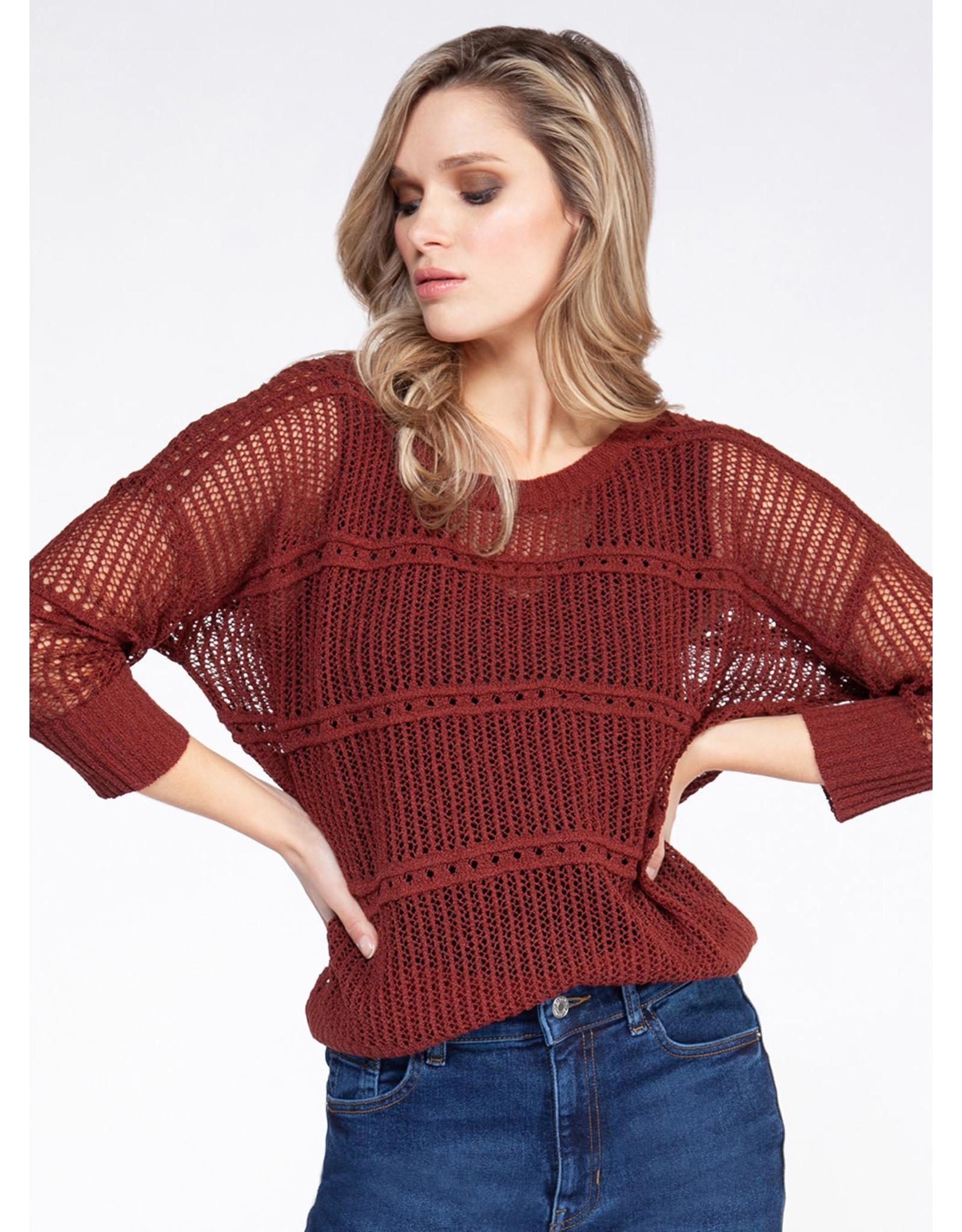 3/4 Sleeve Boat Neck Sweater