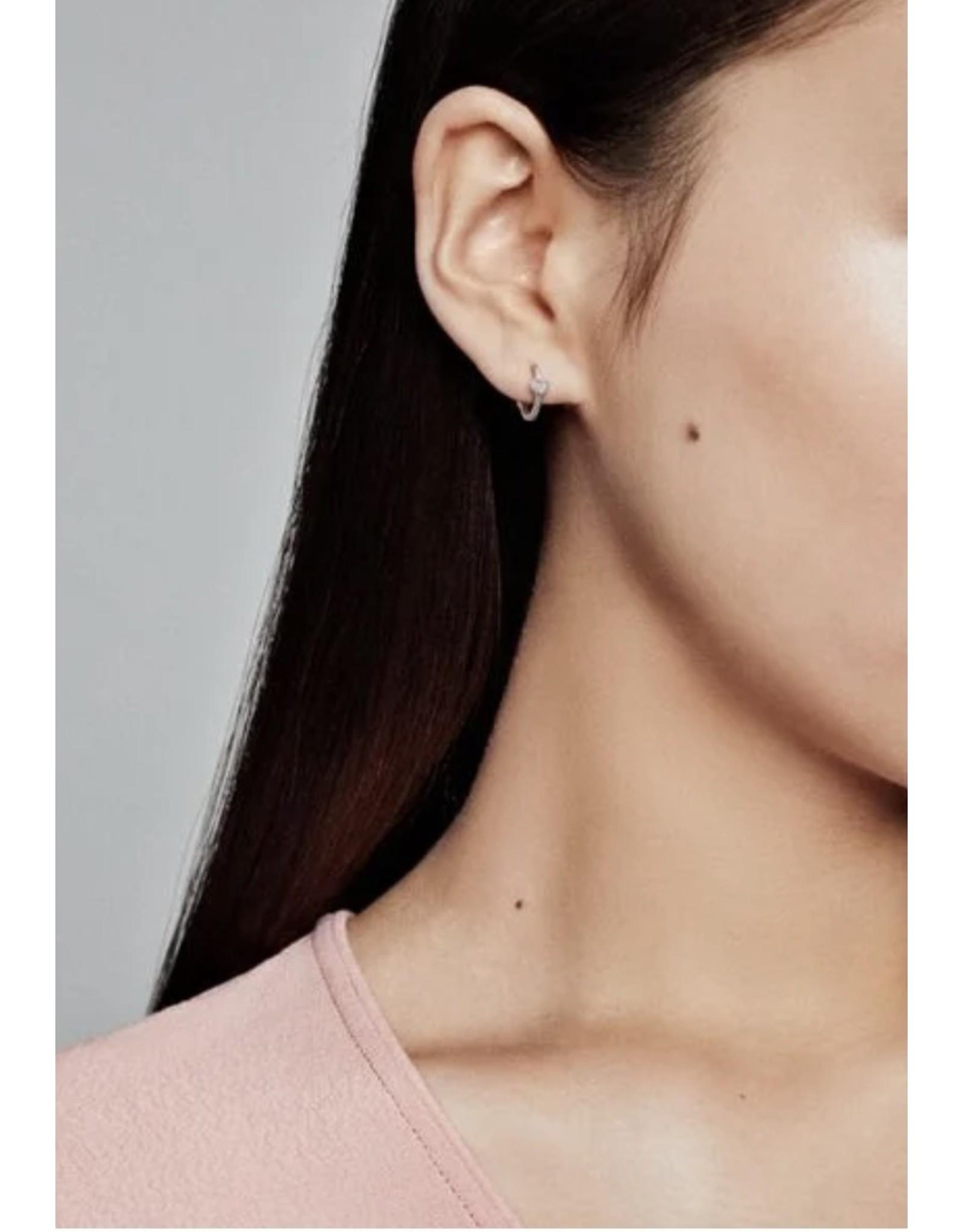 Pandora Pandora Earrings, 297290CZ, Heart Hoop, Sterling Silver Clear CZ