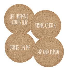 Sips Cork Coaster, Asst- Drink 4pk