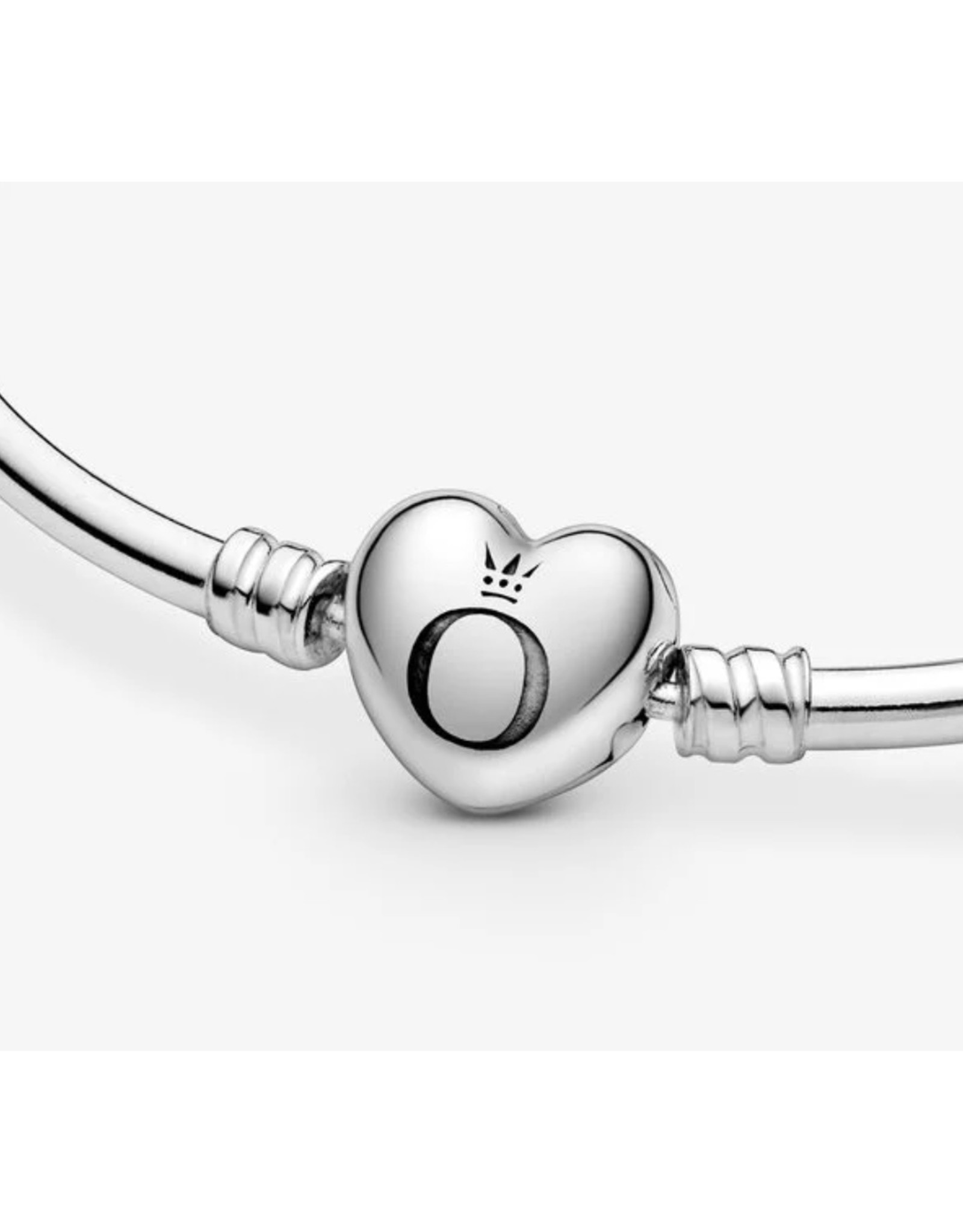 Pandora Pandora Bracelet,596268, Silver Bangle Heart Clasp