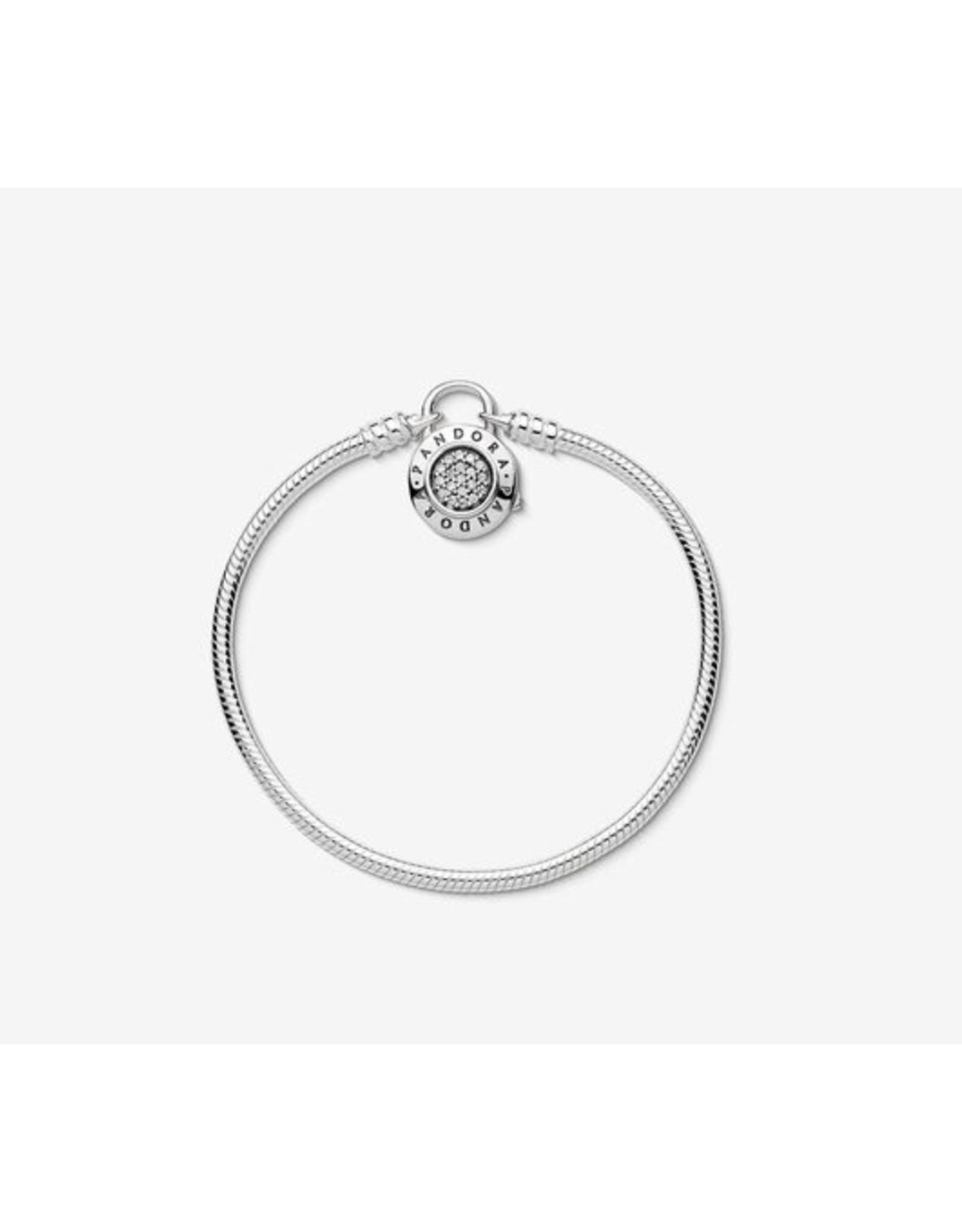 Pandora Pandora Bracelet,597092CZ,Pave and Padlock Clasp Snake Chain
