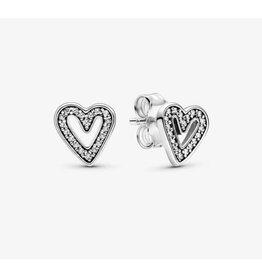 Pandora Pandora Earrings,298685C01,Heart Sterling Silver Stud Clear CZ
