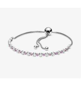 Pandora Pandora Sliding Bracelet,598517C02, Pink and Clear Sparkle