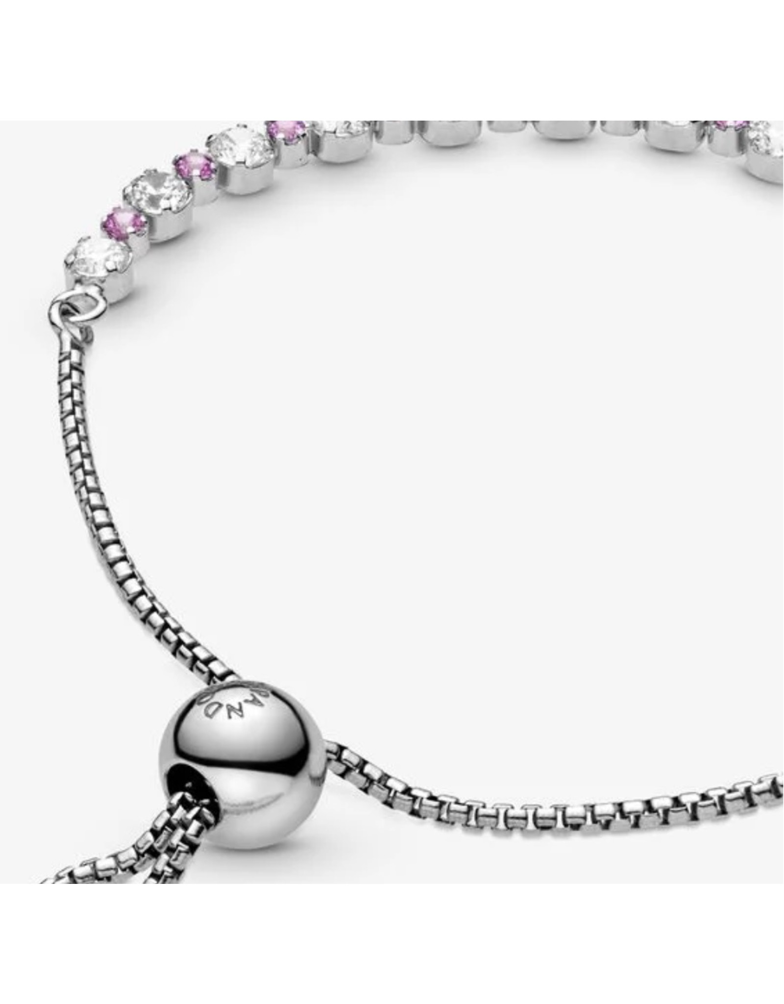 Pandora Pandora Sliding Bracelet,598517C02, Pink and Clear Sparkle