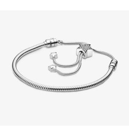 Pandora Pandora Sliding Bracelet,598528C01, Pave Star And Snake Chain Sliding