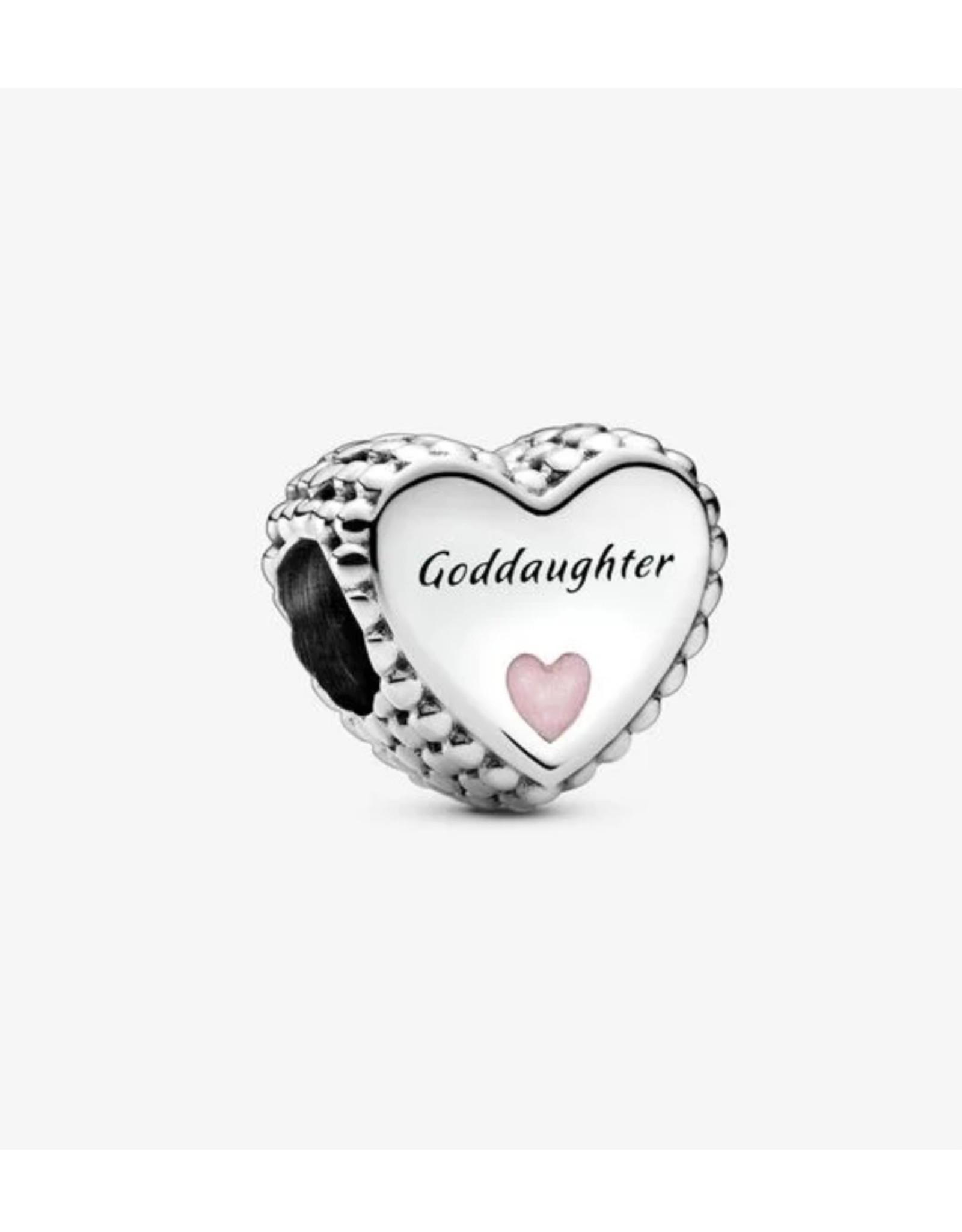 Pandora Pandora Charm,799147C01, Goddaughter Heart, Pink Enamel