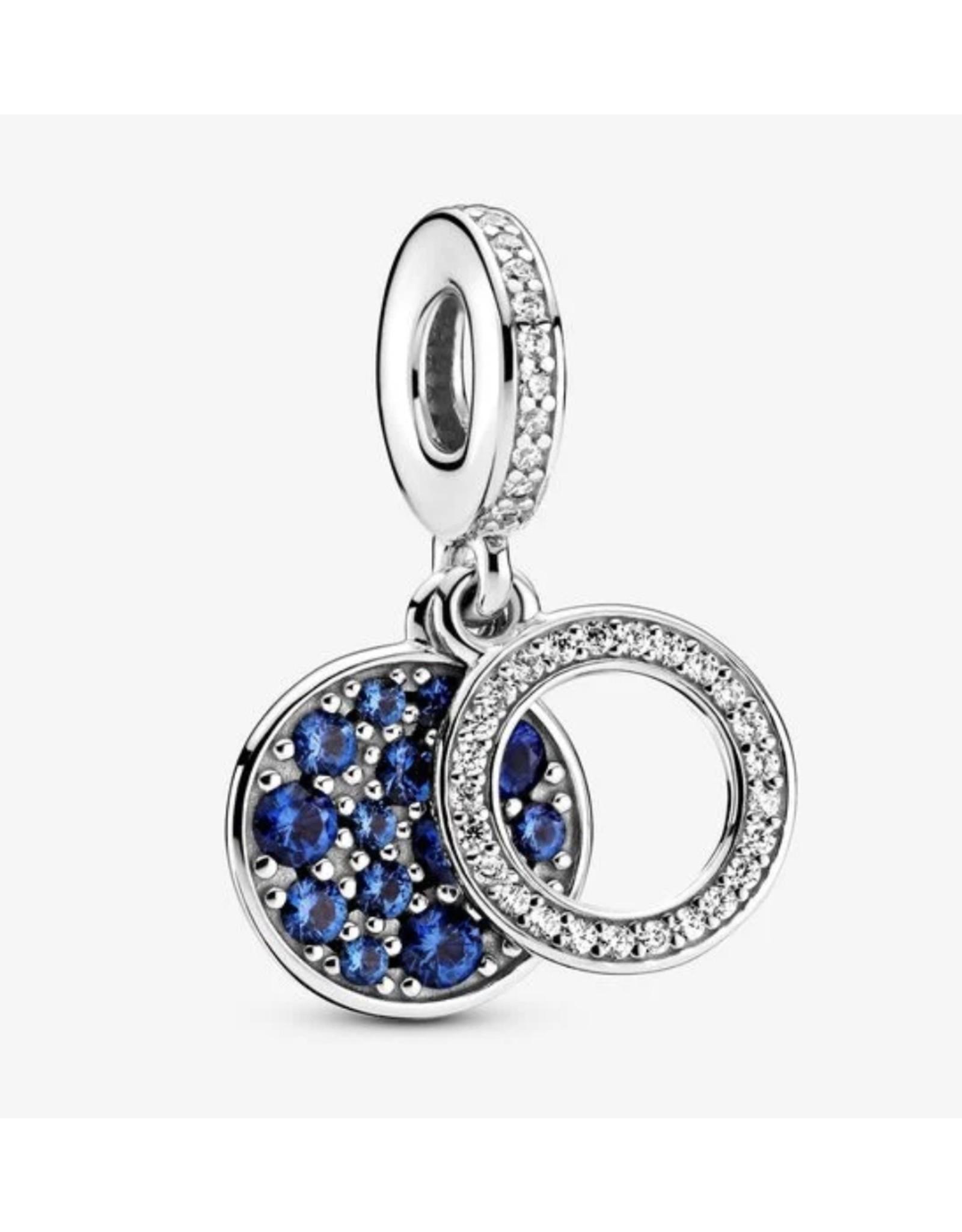 Pandora Pandora Charm,799186C01, Sparkling Blue Disc, Blue Crystal & Clear CZ