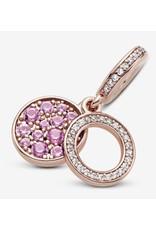 Pandora Pandora Charm, 789186C02, Sparkling Pink Disc, Synthetic Pink Sapphire&Clear CZ