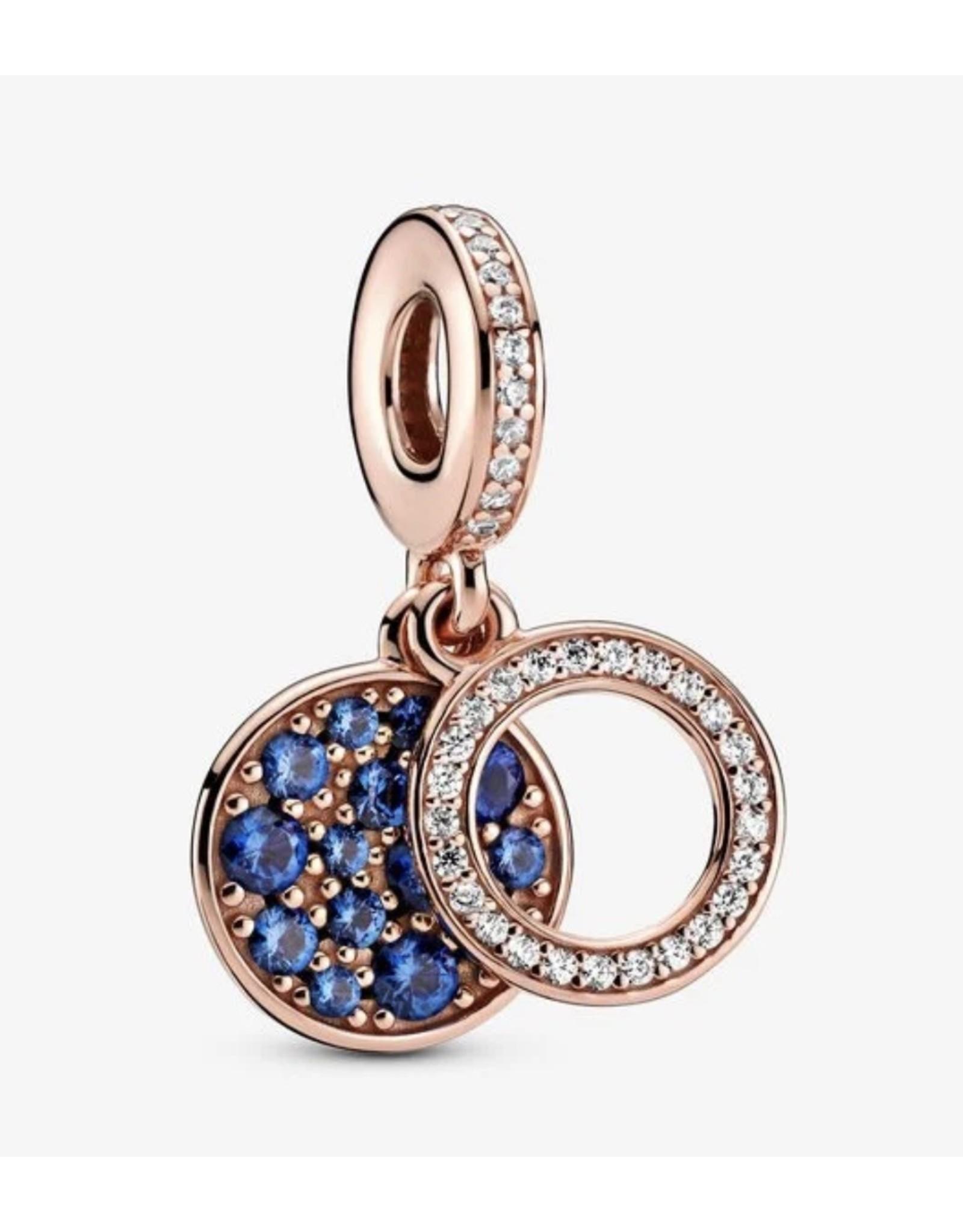 Pandora Pandora Charm, 789186C01, Sparkling Blue Disc, Blue Crystal & Clear CZ