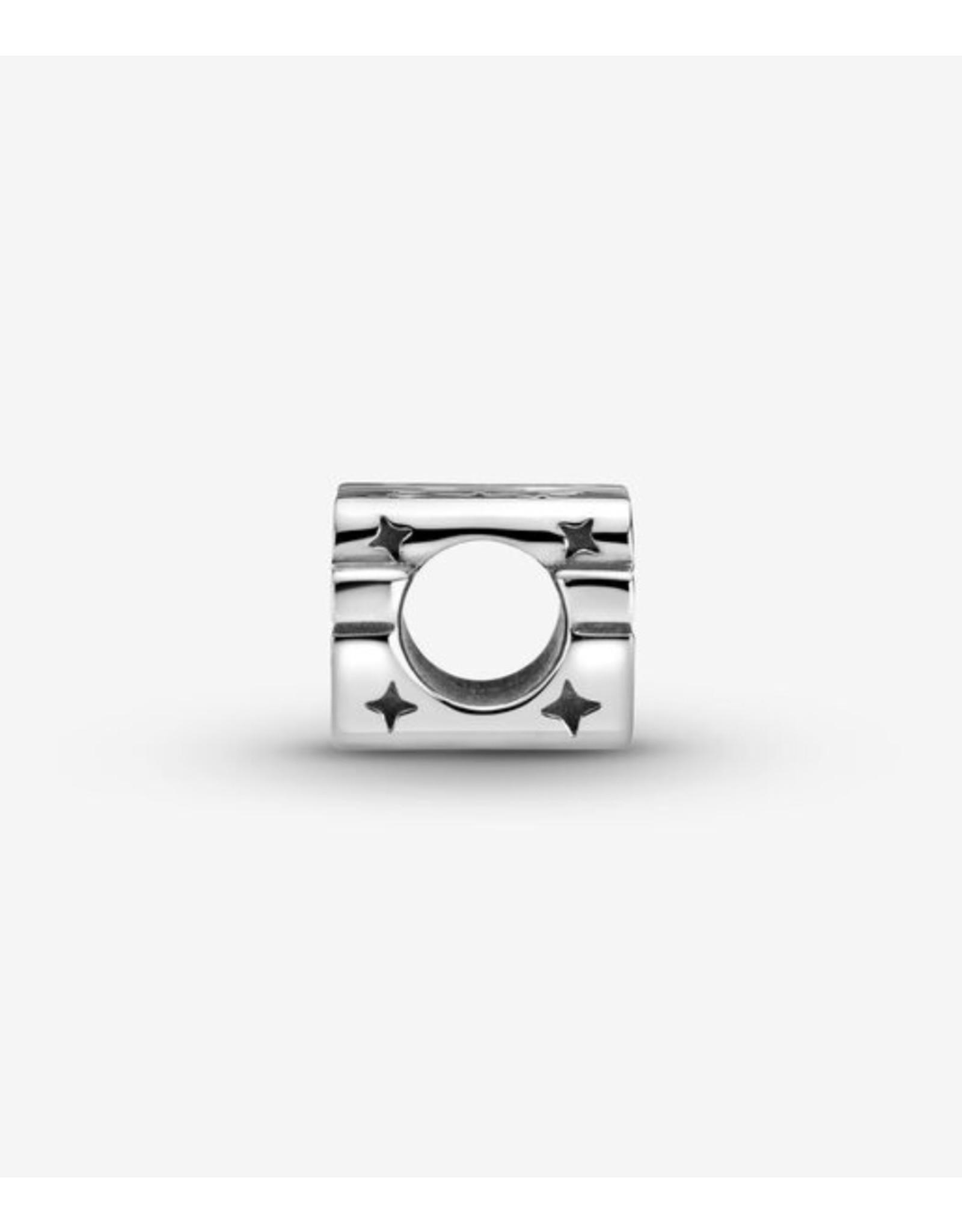Pandora Pandora Charm,799246C01, Silver 3D Logo, Black Enamel
