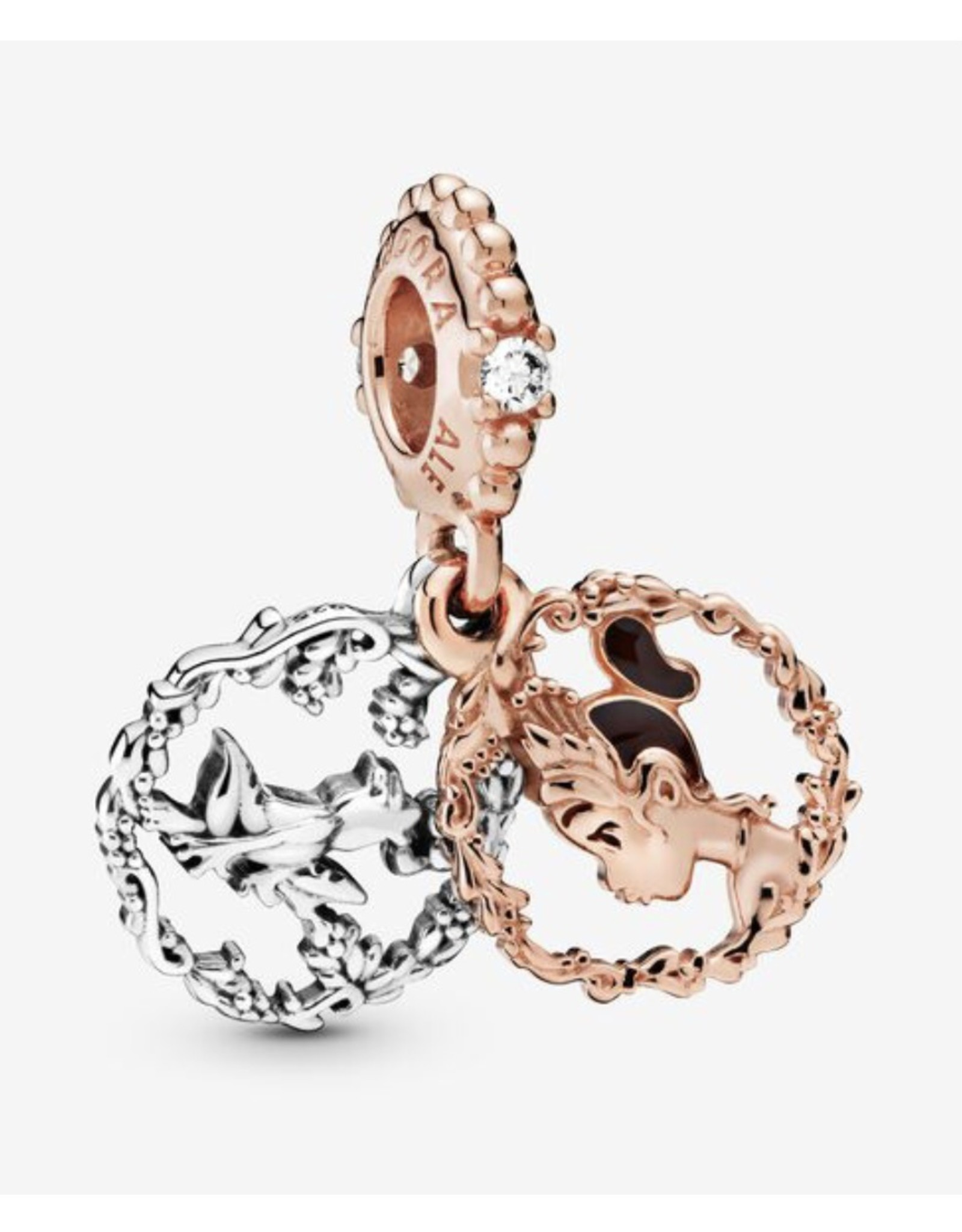 Pandora Pandora Charm,788234CZ, Disney, Tiana Rose Gold & Sterling Silver Clear CZ & Brown Enamel