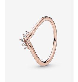 Pandora Pandora ring,(188282CZ) Rose Glod, Tiara Wishbone, Clear CZ