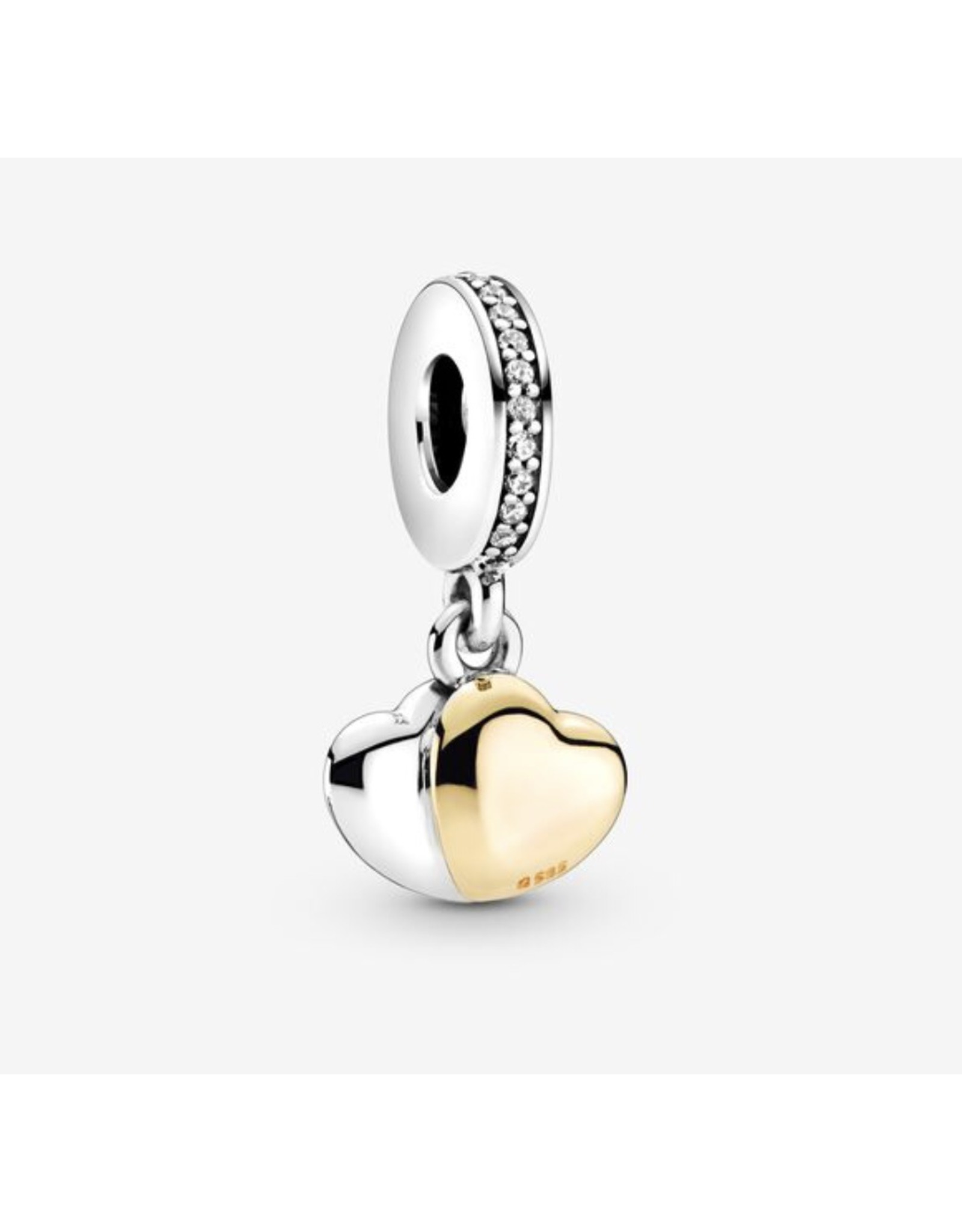 Pandora Pandora Charm,799162C01,Double Hearth With 14K Gold