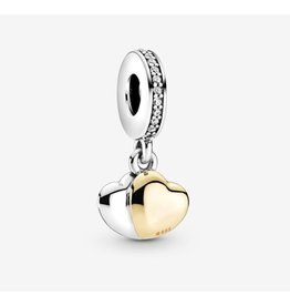 Pandora Pandora Charm,799162C01,Double Hearth With 14K Gold