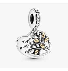 Pandora Pandora Charm,799161C00,Family Tree Hearth With 14K Gold