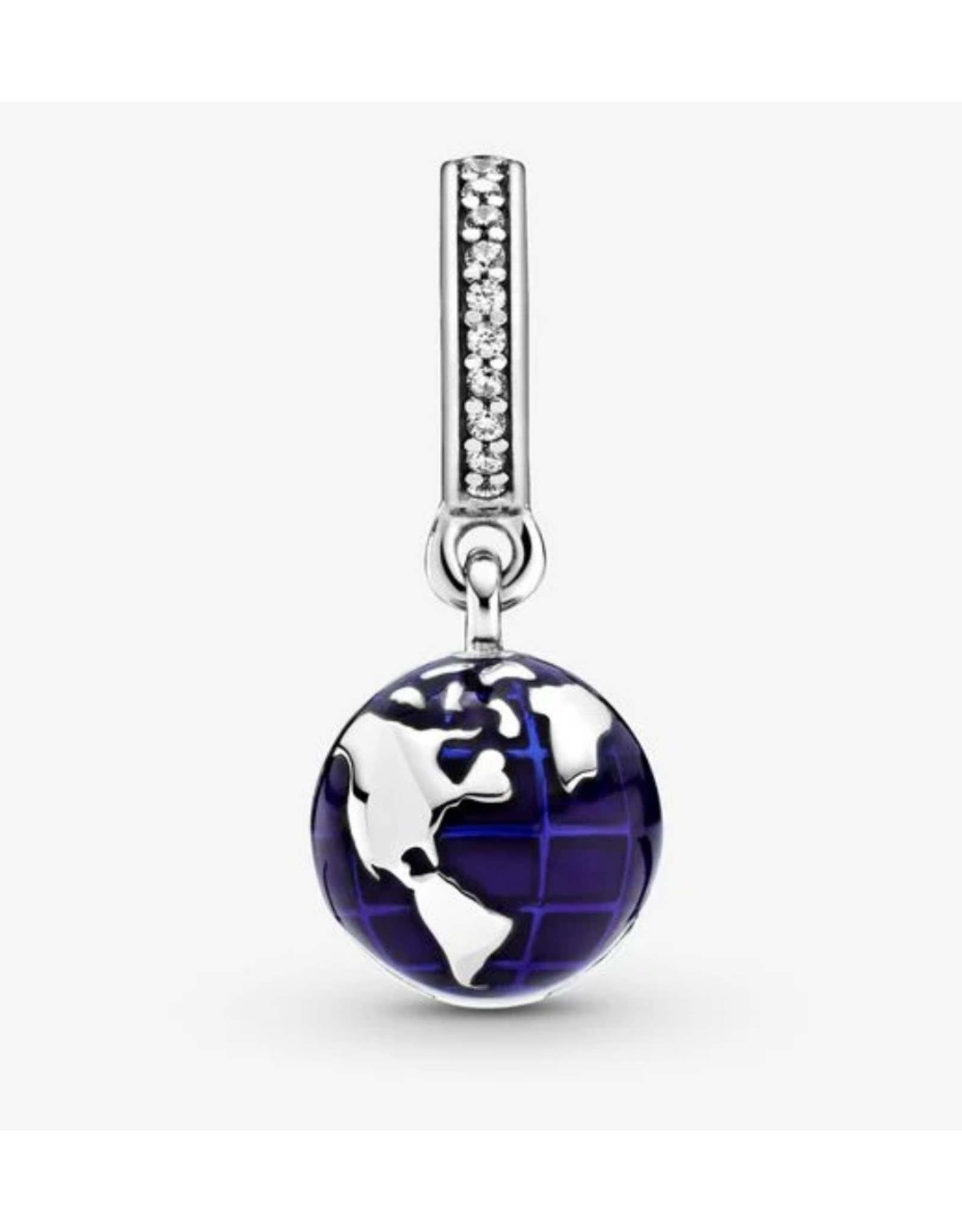 Pandora Pandora Charm,798774C01, Openable Globe Dangle, Blue Enamel