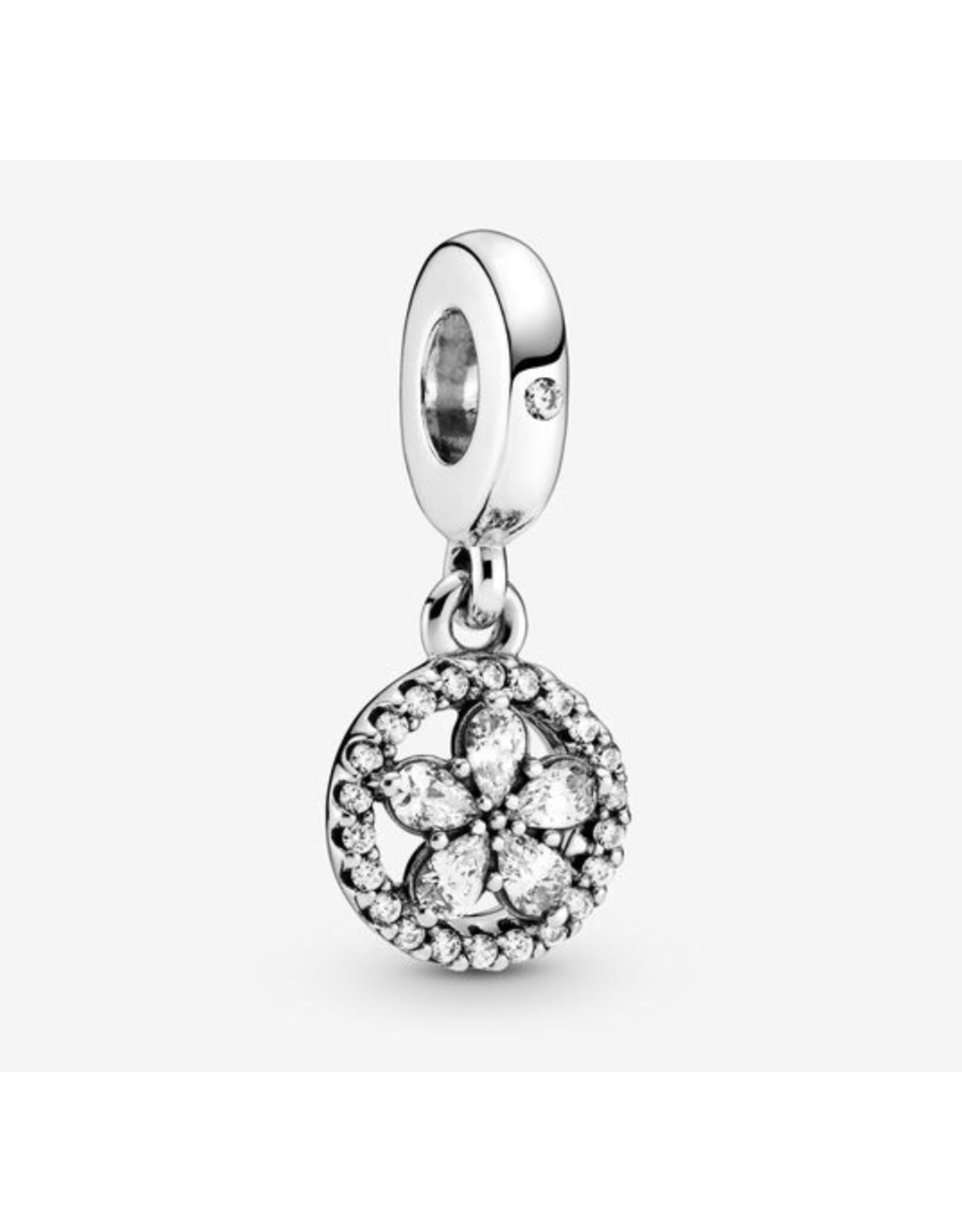 Pandora Pandora Charm,799222C01,Sparkling Snowflake Circle Dangle
