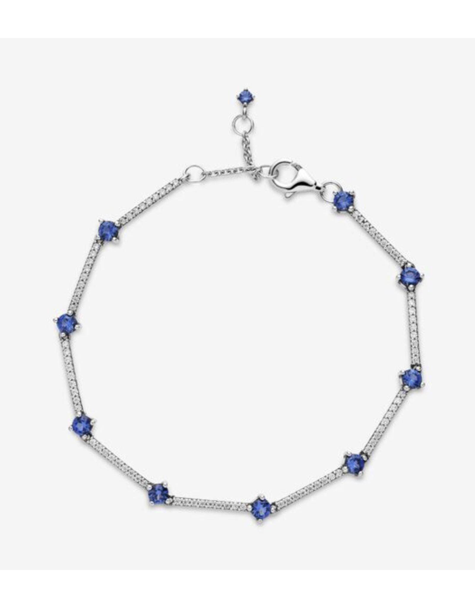 Pandora Pandora Bracelet,599217C01, Sparkling Pave Bars, Blue&Clear CZ