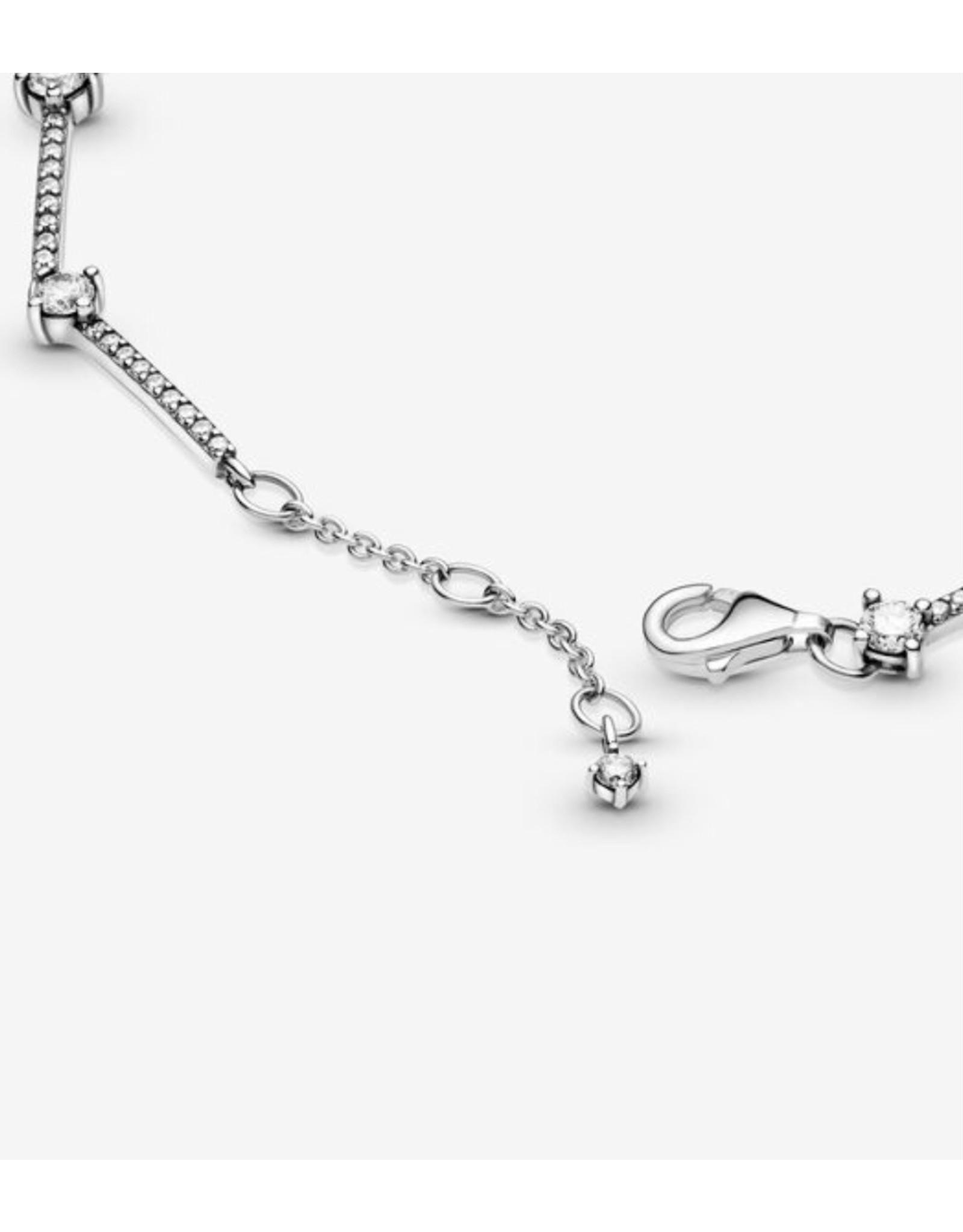 Pandora Pandora Bracelet, 599217C02,Sparkling Pave Bars,Sterling Silver, Clear CZ