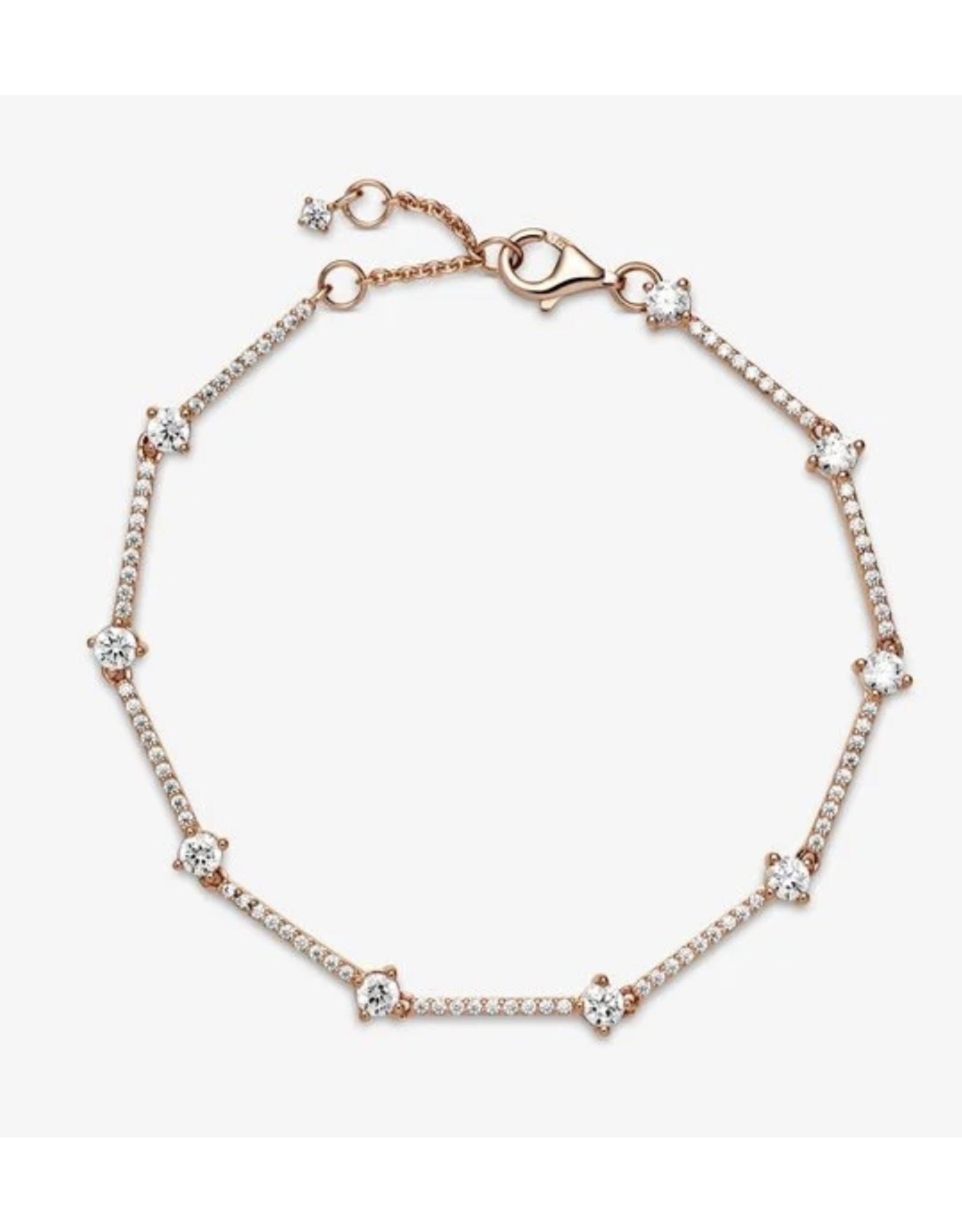 Pandora Pandora Bracelet,589217C01, Sparkling Pave Bars,Rose Gold, Clear CZ