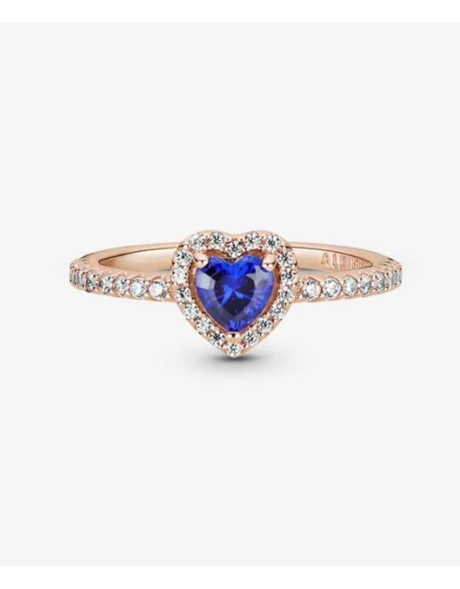 Pandora Pandora Ring,188421C01, Sparkling Blue Elevated Heart, Clear CZ, Rose Gold