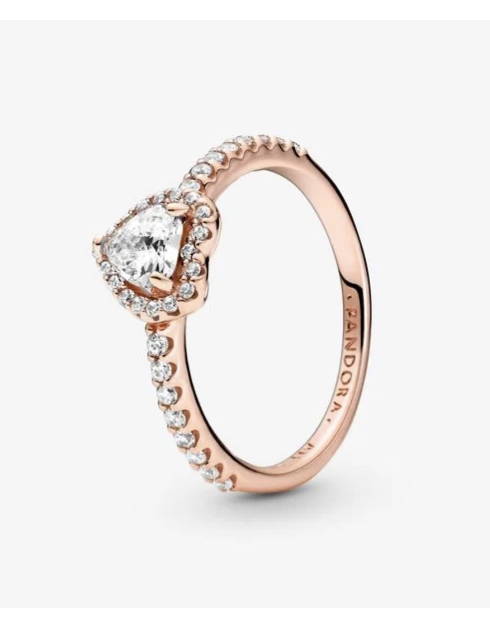 Pandora Pandora Ring,188421C02,Sparkling Elevated Heart, Clear CZ, Rose Gold