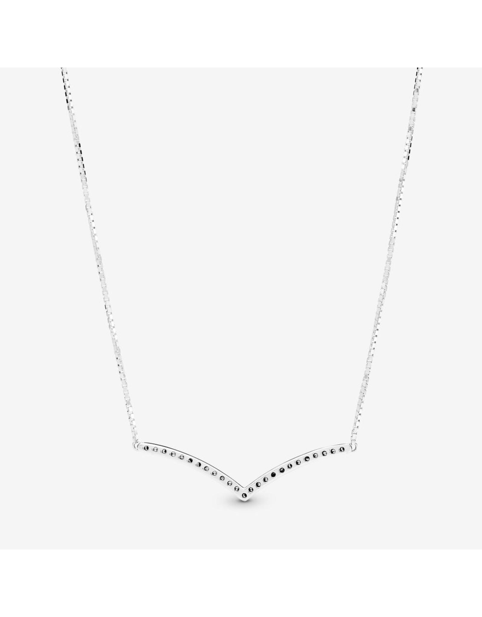 Pandora Pandora Necklace,397802CZ-45,Sparkling Wishbone