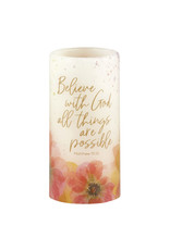 Heartfelt Led Candle, Belive With God All Things Are Possible -Matthew 19:26