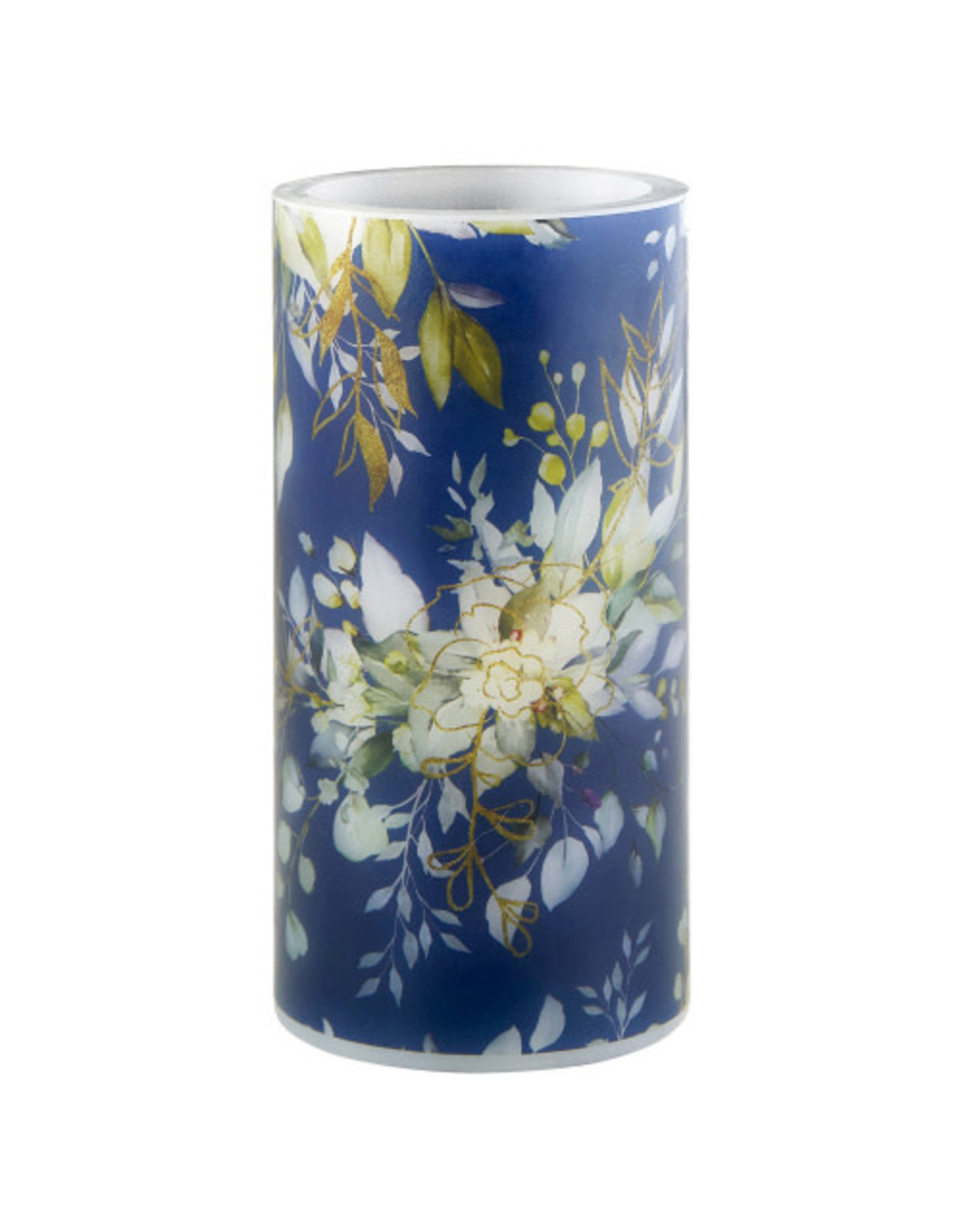 Heartfelt LED Candle, Blue FLoral