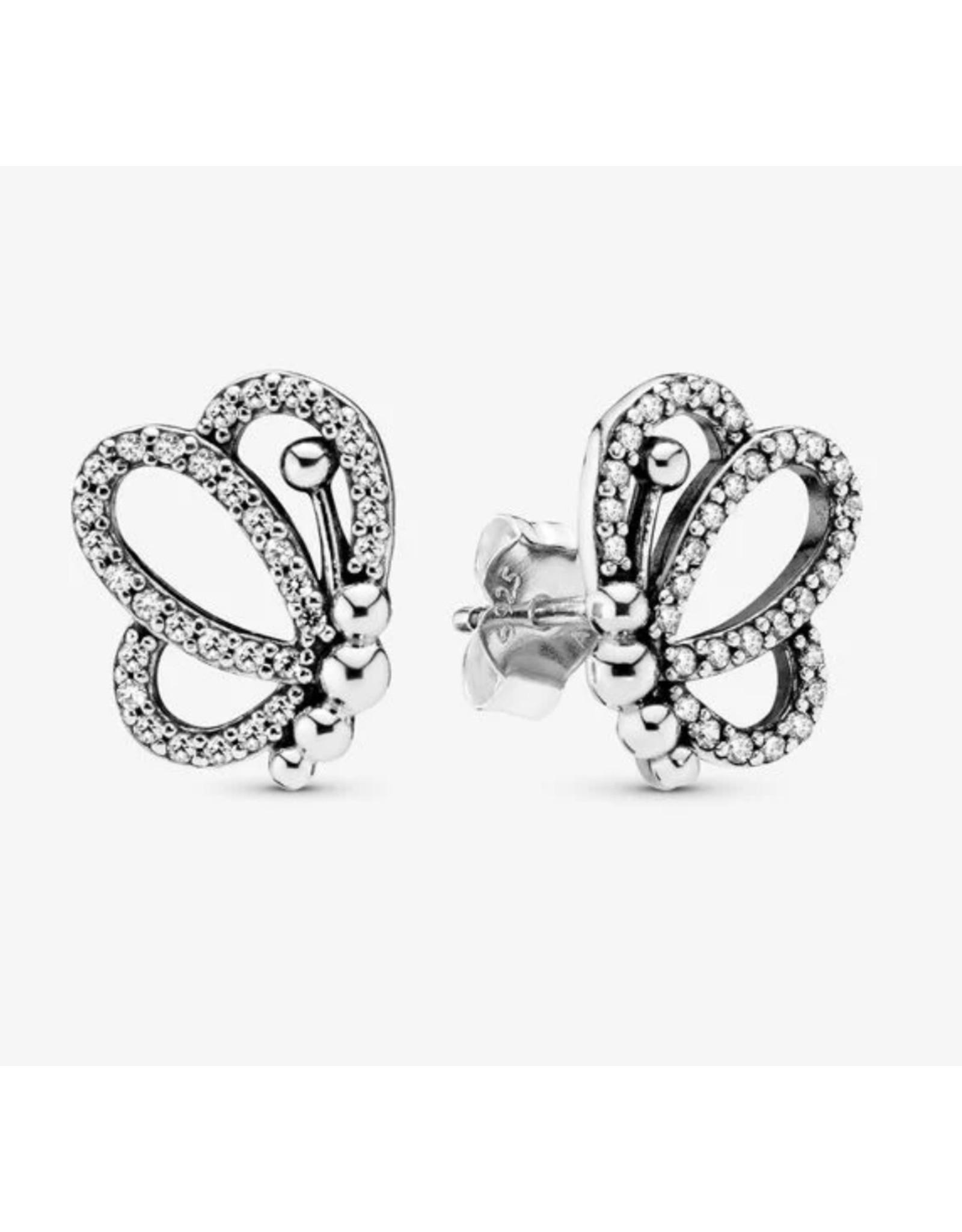 Pandora Pandora Earrings,297912CZ,Openwork Butterfly Stud