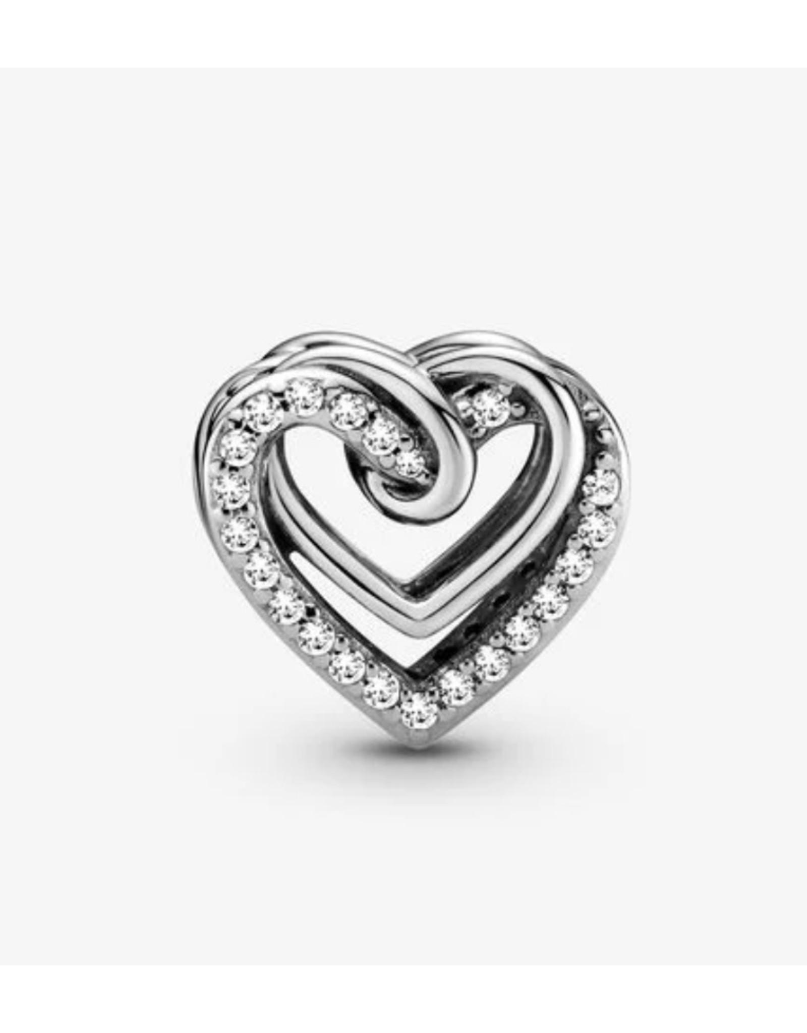 Pandora Pandora Charm,799270C01,Sparkling Entwined Hearts, Clear Cz