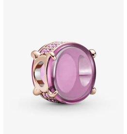 Pandora Pandora Charm,789309C02, Oval Cabochon, Pink& synthetic Sapphire, Rose Gold
