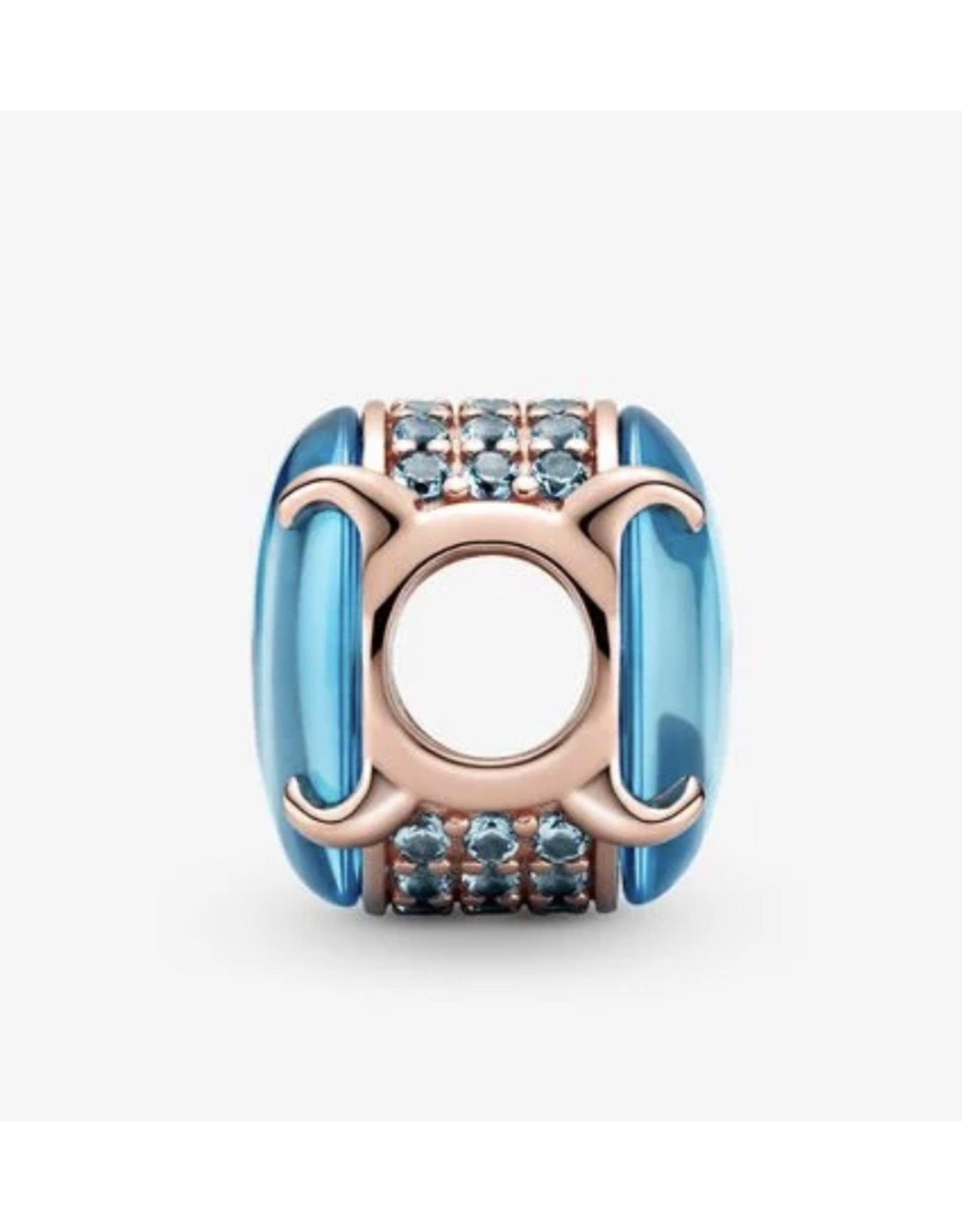 Pandora Pandora Charm,789309C01, Oval Cabochon, Blue Crystal,Rose Gold