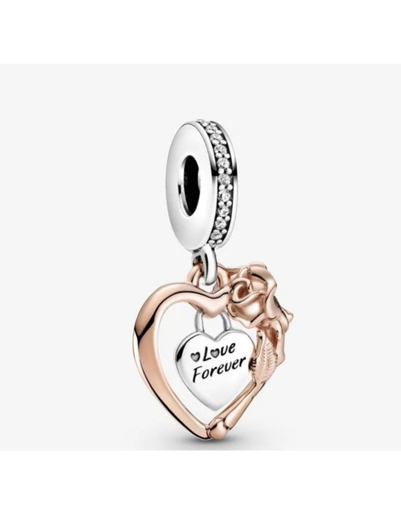 Pandora Pandora Charm,789290C01, Heart & Rose Flower, Clear CZ With Rose Gold