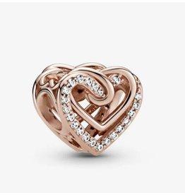 Pandora Pandora Charm,789270C01, Sparkling Entwined Hearts, Clear CZ, Rose Gold