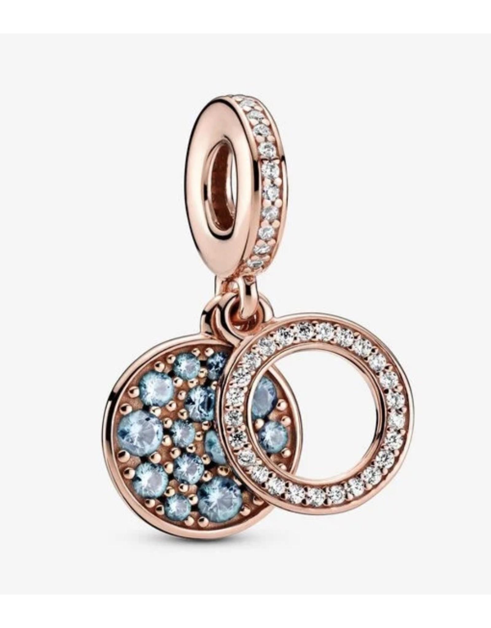 Pandora Pandora Charm, 789186C03, Sparkling Light Blue Disc, CLear CZ&Blue Crystal, Rose Gold