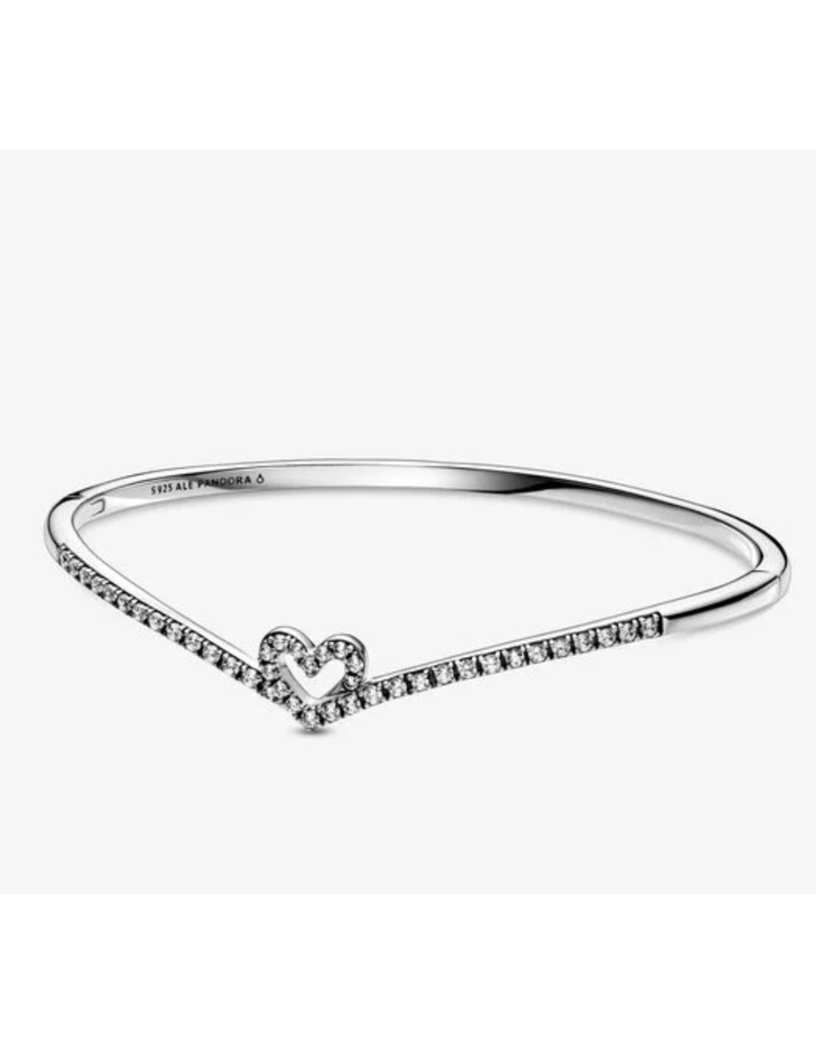 Pandora Pandora Bracelet,599297C01, Sparkling Wishbone Heart Bangle, Clear CZ