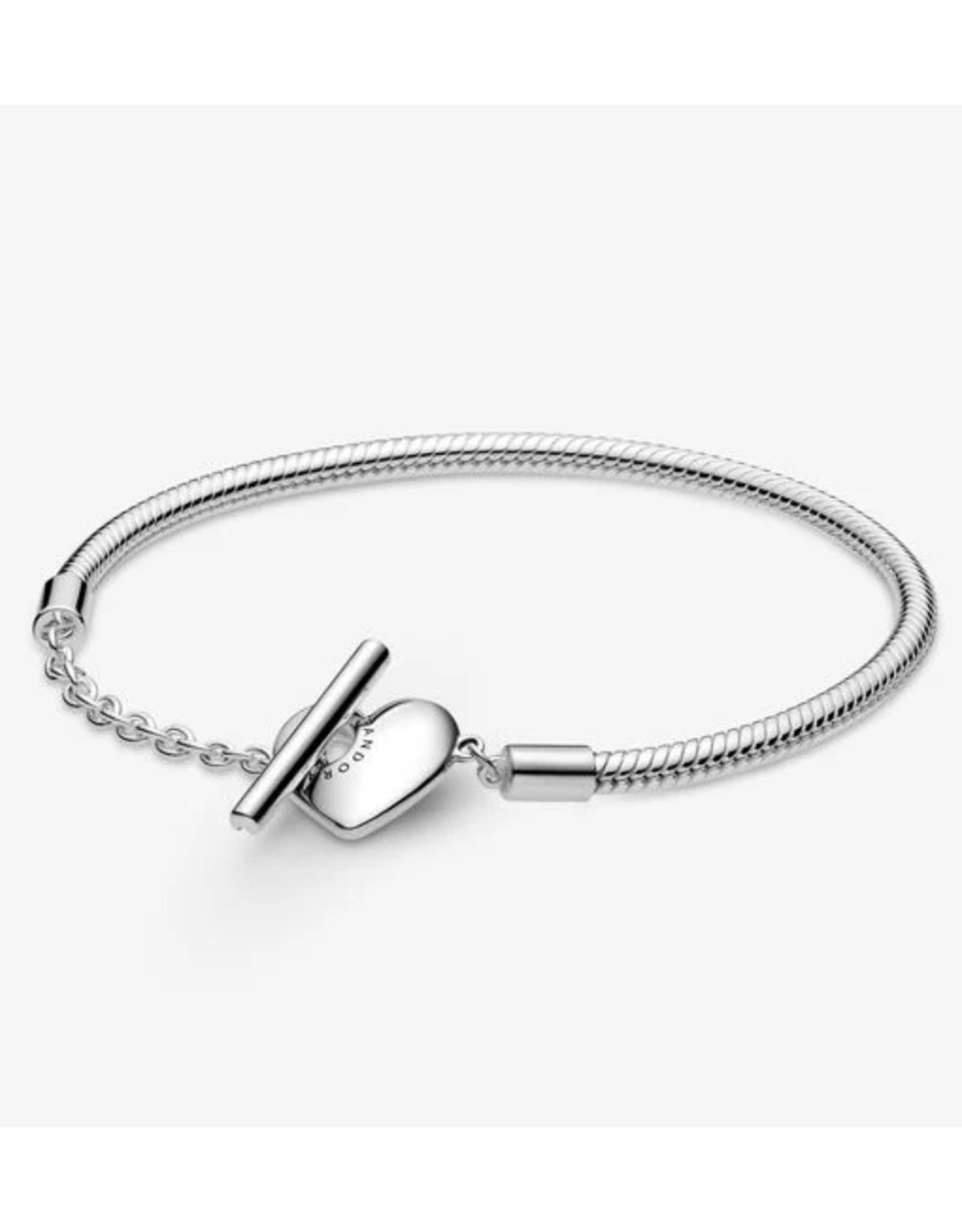 Pandora Pandora Bracelet,599285C00,Engravable Heart T-Bar Snake Chain