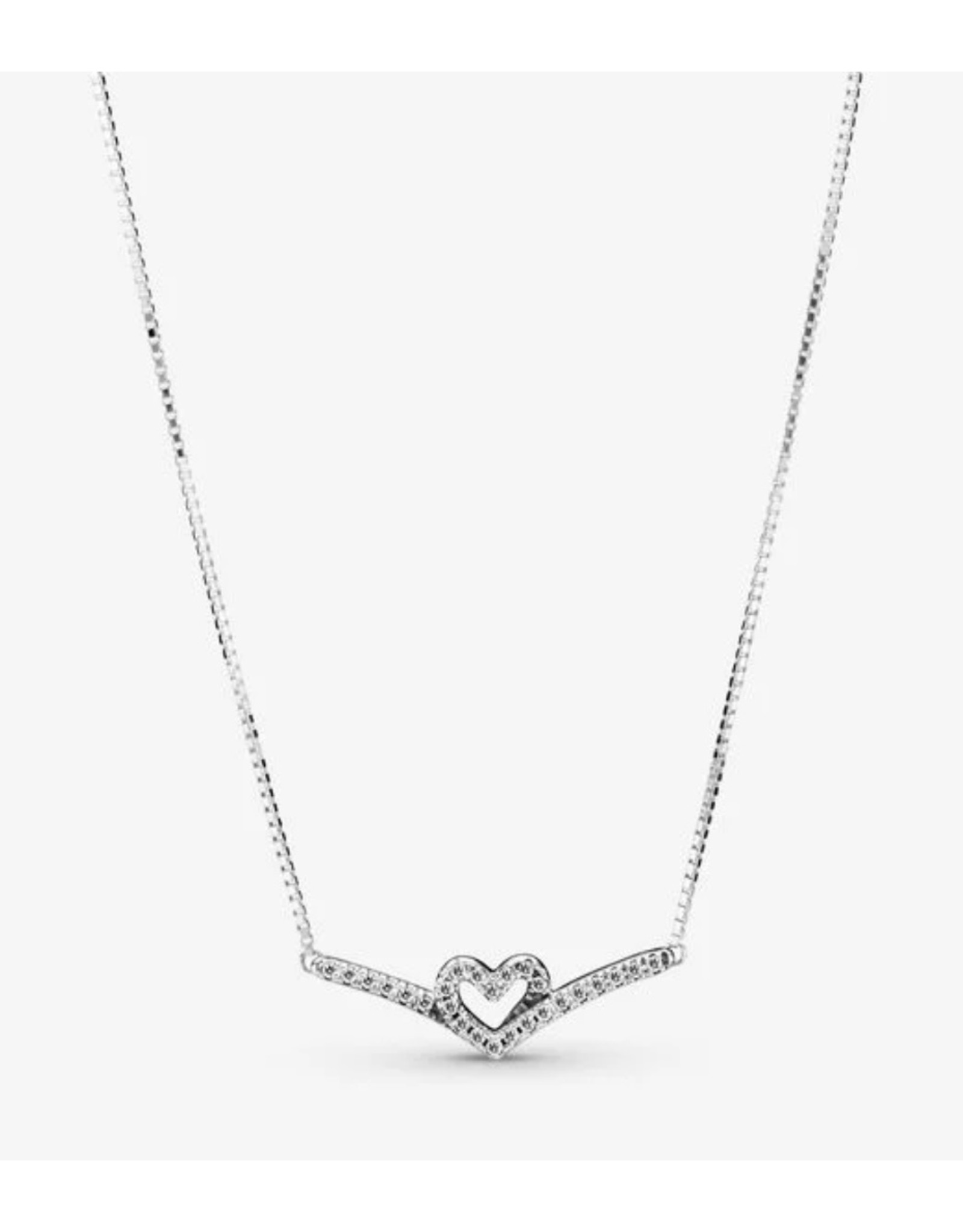 Pandora Pandora Necklace,399273C01-45,Sparkling Wishbone Heart, Clear CZ