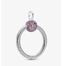 Pandora Pandora O Pendant,399097C02, Small Pink Pavé, Pink Crystal