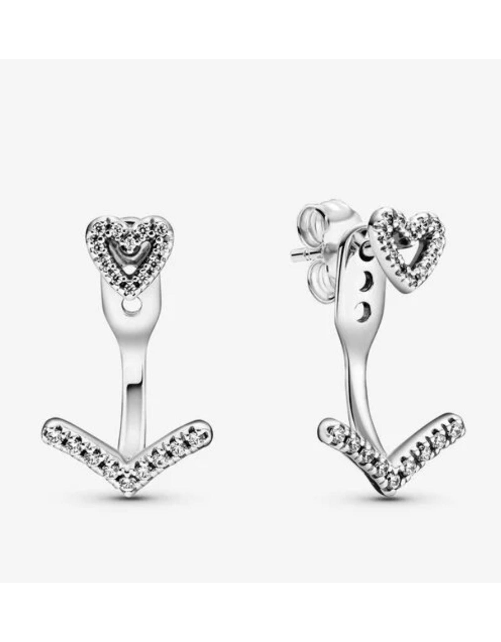 Pandora Pandora Earrings,299280C01, Sparkling Wishbone Heart Clear CZ